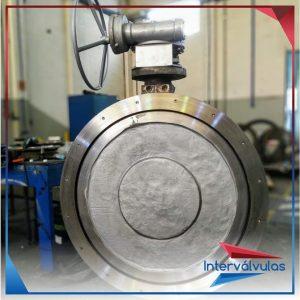 Válvula bi-excêntrica 48″ fornecido com corpo e disco em aço inox fundido CF8 3