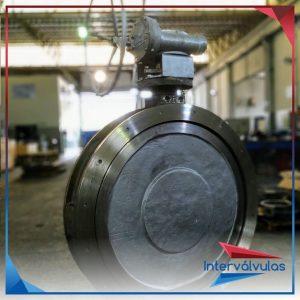 Válvula bi-excêntrica 48″ fornecido com corpo e disco em aço inox fundido CF8